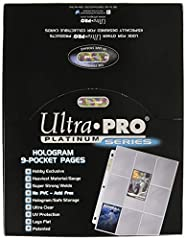 Box of 100 high-quality trading card display pages Top-loading, heavyweight polypropylene pages with strong welds Each page holds nine 2. 5 by 3. 5-inch trading cards PVC and acid free; UV protection for your cards Three-hole punched for storage in s...