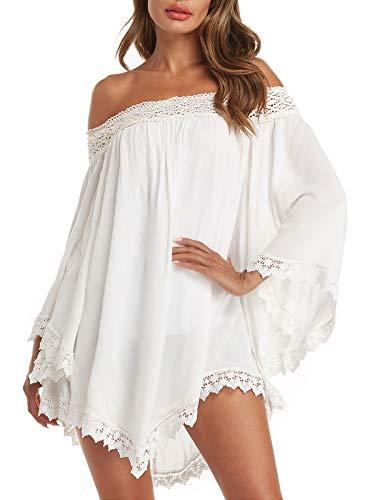 ZANZEA Vestidos Mujer Verano Corto Sexy Sin Hombros Vestido Playa Vintage Mangas Largas Encaje Irregular Elegante Casual Blanco M