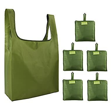 Reusable Grocery Bags Set, Grocery Tote Foldable into Attached Pouch, Ripstop Polyester Reusable Shopping Bags, Washable, Durable and Lightweight (Moss)