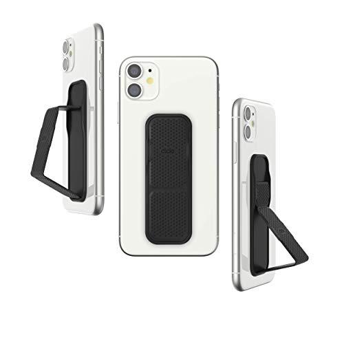 CLCKR スマホスタンド & グリップ 縦置き/横置き スマホリングの次はこれ スリムデザイン iPhone iPad Android Xperia 各種スマホに対応 ケース に装着可 ユニバーサル スマホホルダー メッシュ PUレザー(Sサイズ、メッシュブラック)