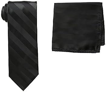 Stacy Adams Men s Solid Woven Formal Stripe Tie Set Black One Size