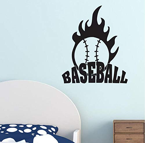 WVOVW Baseball With Fire Wall Stickers Children Bedroom Wall Decor Sticker Adhesive Ball Sports Wall Decals 52cm X 44cm DS1535