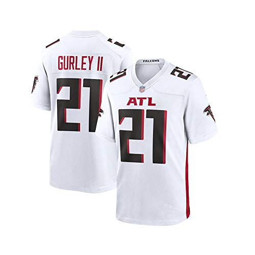 Rugby-Trikot Todd Gurley # 21 Atlanta Falcons Fußballtrikot, Unisex-Sport-Kurzarm-Sweatshirt Fitness Atmungsaktive Stickerei Wiederholbare Reinigung bestes Geschenk-White-3XL(195cm~210cm)