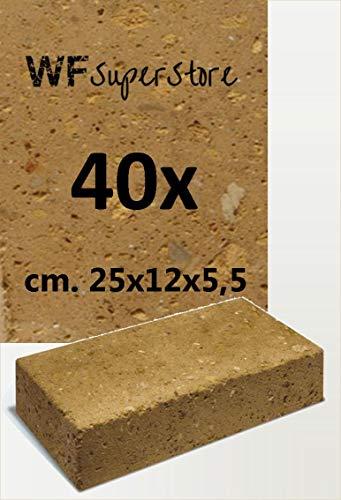 WUEFFE Mattoncini diamantati in tufo 25x12x5,5-40 Pezzi - Pavimenti aiuole Giardino