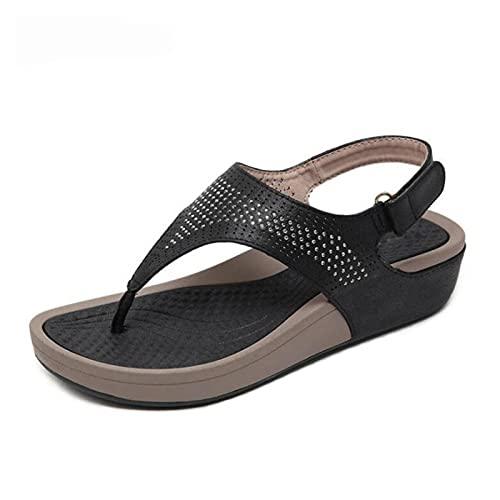 LIYDENG Sandalias de verano con diamantes de imitación para mujer, sandalias de punta abierta, sandalias de plataforma, sandalias de playa, sandalias al aire libre (color: rojo vino, tamaño: 7)