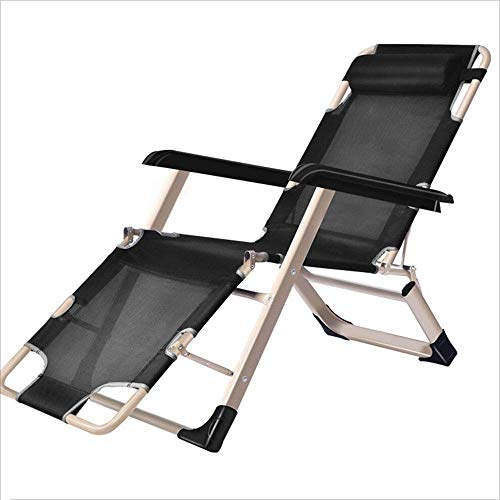 GenericBrands Silla Plegable/Cama Plegable Silla de diseñador de Aluminio portátil Informal Moderna Negro