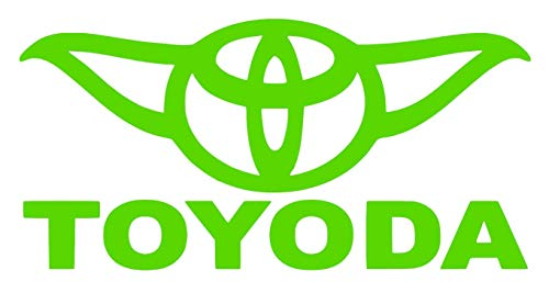 Toyoda [Pick Any Color] Vinyl Transfer Sticker Decal for Car/Truck/Window/Bumper (5in x 2.5in, Lime Green)