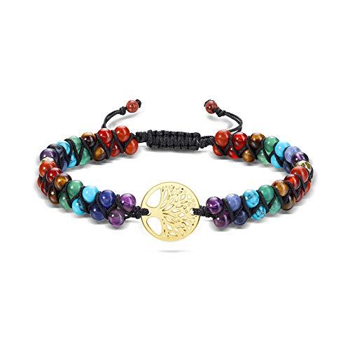 JSDDE 7 Chakra Armband Perlenarmband aus Heilsteine Partnersarmbänder Lebensbaum OM Armband Doppelschicht geflochten Armreif Energietherapie Yoga Esoterik Schmuck für Frauen Männer (Lebensbaum)