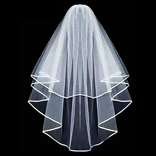 Lomire JGA deko Accessoires für den Junggesellinnenabschied Hochzeit, Braut Dusche, Tiara, Schärpe, weißer Schleier mit Kamm für Braut to be, Team Braut (Schleier)