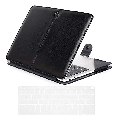Se7enline 2018/2019/2020 MacBook Air 13 Inch PU Leather Case Model A1932/A2337/A2179 Carrying Book Folio Protective Sleeve Cover & TPU Keyboard Cover for MacBook Air 13-Inch with Retina Display, Black