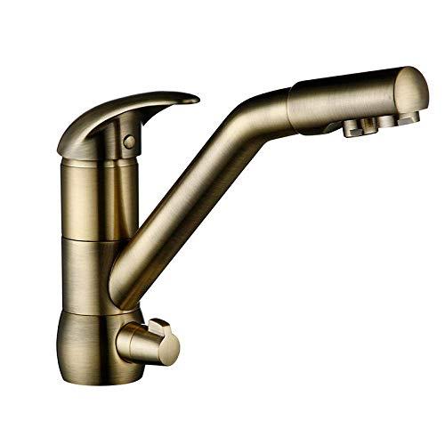 HYY-YY Grifos de lavabo de cocina bronce cerámica agua caliente y fría grifos de baño latón macizo fregadero cocina grifo