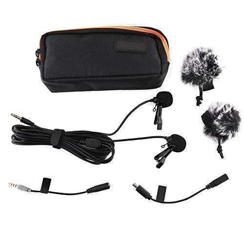 Bigking Micrófono de Video, CVM-D02 Mini micrófono Universal Compacto con micrófonos Dobles para cámara de acción de teléfono Inteligente, Negro y Rojo(4.5M Rojo)