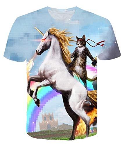TJJF Nouveau 3D Print Rainbow Horse Tshirt Summer T-Shirt Hip Hop Casual Pull Harajuku Short Sleeve Funny Tops