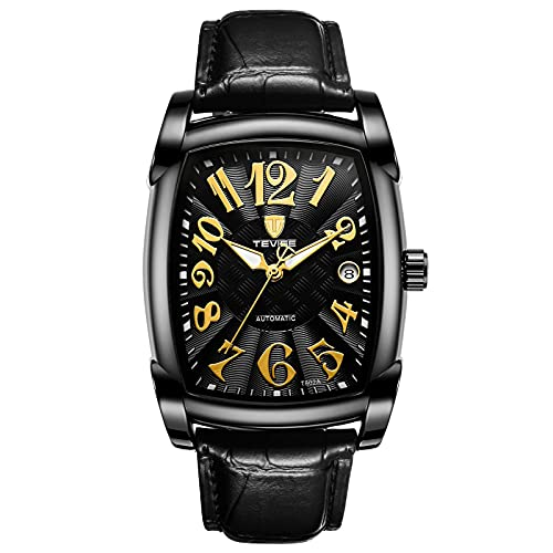 JTTM Reloj De Moda, Multifuncional, Resistente Al Agua, Automático, Mecánico, para Hombres, Correa De Cuero, Reloj con Calendario,Oro