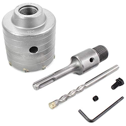 LYYCEU Hot 1 Set 68mm Concrete Hole Saw Galvanising Empty Core Drill Bit Shank 110mm Cement Stone Wall Air Conditioner Alloy Utilities (Color : Silver)