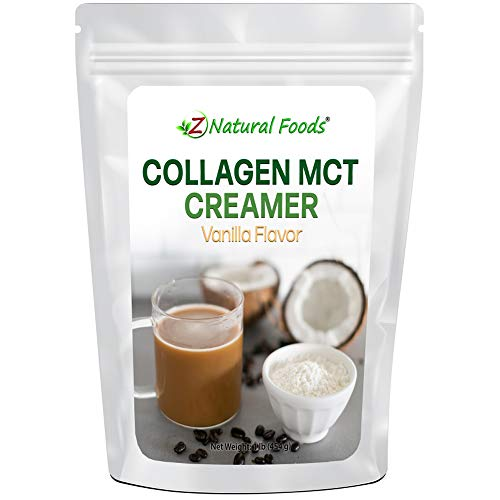 Collagen MCT Oil Creamer - Vanilla Flavor - For Coffee, Tea, Shakes & Smoothies - Perfect for Cooking or Baking Recipes - Keto & Paleo Diet Friendly Superfood Powder - Non GMO & Gluten Free - 1 lb