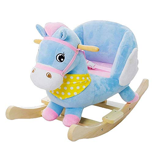 Baby Rocking Horse Ride Toy, Rocking Horse Children's Wooden Horse Toy Dual-use Solid Wood with Music Rocking Chair Gift