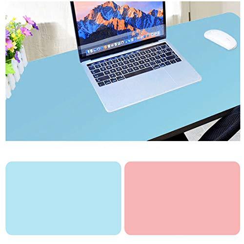 Alfombrilla para Ratón,900 x400x2mm Ultra fino Antideslizante e impermeable alfombrilla para escritorio del cuero de PU Super-Portátil Alfombrilla con Doble cara (Azul+Rosa)