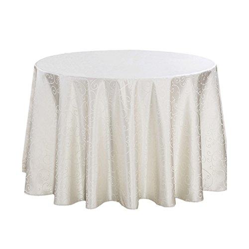 LSHEL Nappe Ronde en Polyester Anti-lâche - Imprimé Nappe de Crochet de Table 140 * 140cm Blanc