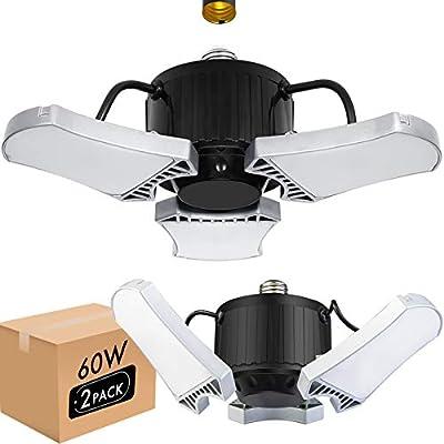LED Garage Lighting, 2 Pack Deformable Garage Light 60W 6000LM Shop Lights for Garage, LED Light Bulbs with 3 Adjustable Panels, 5000K Daylight White Garage Ceiling Light for Workshop Basement