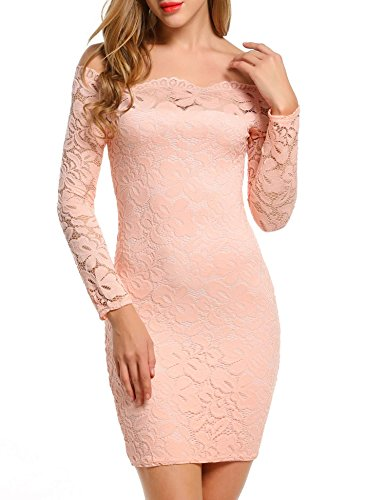 ACEVOG Women's Off Shoulder Lace Dress Long Sleeve Bodycon Casual Dresses (Small, Pink)