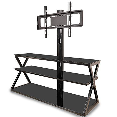 YIERMA Soporte de suelo para TV de altura ajustable, estante de vidrio templado de 3 capas para 32-65 pulgadas.