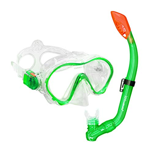 iParaAiluRy Schnorchelset Kinder Anti-Fog mit Schnorchel und Taucherbrille Trocken Schnorchel Anti-Leck Schnorcheln Set für Jungen Mädchen Grün