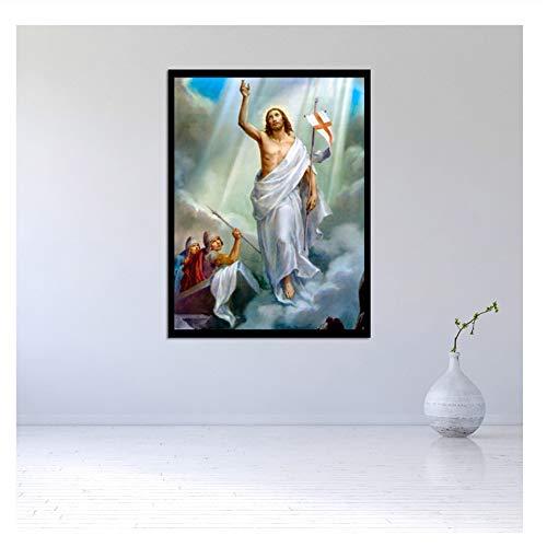 Suuyar Moderne Ölgemälde Wandkunst Die Auferstehung von Christus Jesus Home Decoration Leinwand Gemälde Wandbilder für Wohnzimmer-50x70cm No Frame