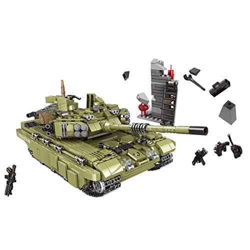 Wolfbush 1386Pcs Tank Building Bricks Toy, Tank Military Series Building Block Toy for Kids Aged 6+, Compatible for Main Building Block Brands - Scorpio Tiger Tank