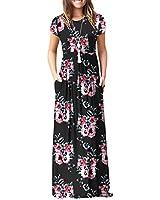 Women's Casual Floral Printed Short Sleeve Long Maxi Tunic Dresses Black Flower Medium