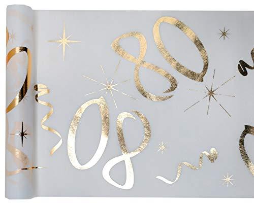cama24com Tischläufer Vlies Zahl 80 Gold Geburtstag 5m Tischvlies Tischdekoration Deko mit Palandi® Sticker