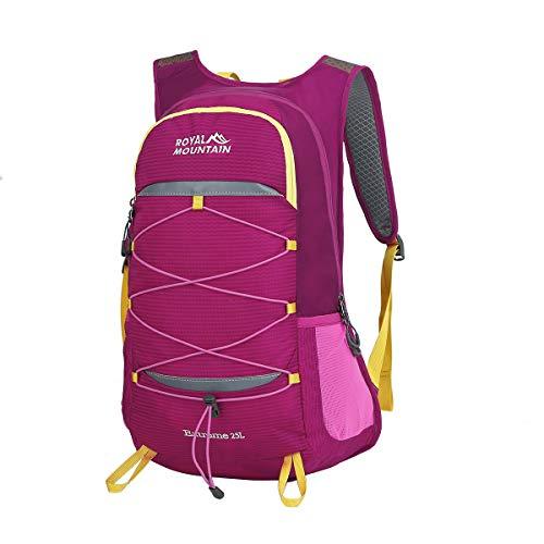 LOCAL LION Wanderrucksack Fahrradrucksack Rucksack 25/30L klein für Damen und Herren mit Trinksystem zum Bergsteigen Wandern Camping Fahrradfahren rot
