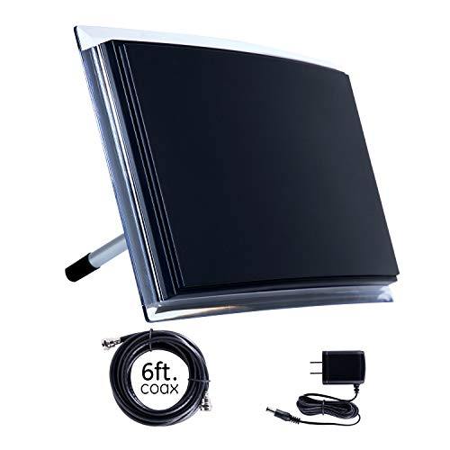 GE Indoor Amplified TV Antenna, Long Range HD 4K 1080P VHF UHF, Extendable Dipole Rabbit Ears, Amplifier Signal Booster, Digital HDTV Antenna, Smart TV Compatible, 6Ft Coaxial Cable, 34134