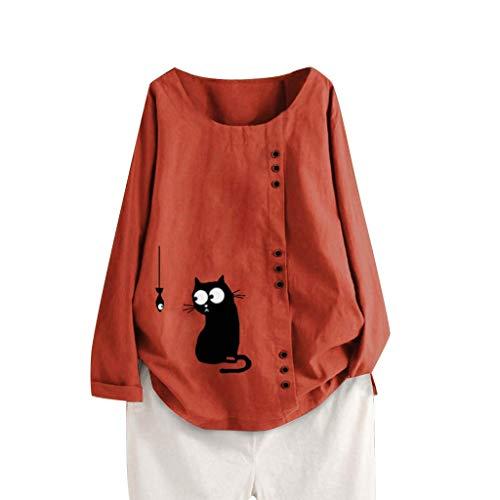 FRAUIT Damen Mode Leinen Blusen Katze Drucken Langarmshirt Knopf Große Größen Hemd Freizeit Tunika Oberteil Locker Hemd Shirts