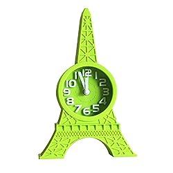 lightclub Fashion Eiffel Tower Tabletop Alarm Standing Clock Home Office Decoration Gift Green
