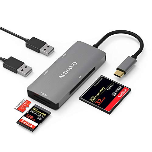 AUDIANO USB C to SD/CF Card Reader, USB Type C SD/TF/CF Hub Adapter with Compact Flash Memory Card Reader, 2 USB 3.0 Ports Compatible for MacBook Pro 2018/2017, Samsung S10, Surface Book 2 and More