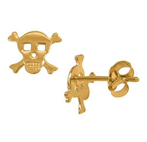 Ritastephens 14K Yellow Gold Skull and Crossbones Cross Bones Post Stud Earrings Small