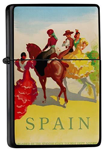 Pocket Vintage Windproof lighter ライター Brushed Oil Refillable Spain Flamenco tab