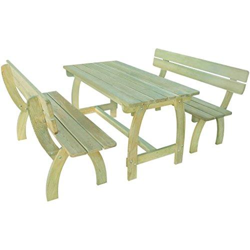 Lingjiushopping Set de table et bancs de jard ¨ ªn 3 pièces bois pin imprégnée F ¨ ¢ Cil à chevaucher