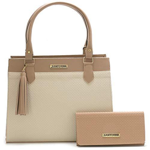 Bolsa Feminina Grande Mais Carteira com alça transversal Santorini Handbag (Nude/Creme)