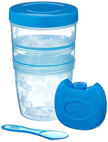 Snips Yogurt & Cereali - Recipientes Multiples Azules, contenedor refrigerado con cucharilla Yogurt con Tapa transportín, Bote para Alimentos, Porta Frutas, Blanco/Azul, 2 x 2 x 2 cm