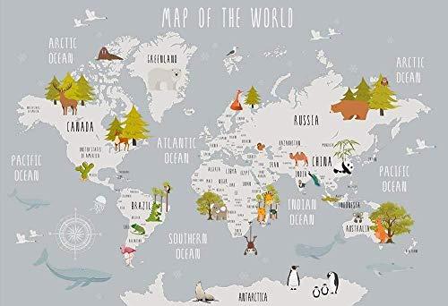 Wallpaper Photo Wallpaper Giant Wallpaper Wallpaper World Map Kids Room Background Wall Decoración del hogar Fondo Mural de pared 3D Wa Papel tapiz no tejido Papel tapiz 3D Decoración-200cm×140cm
