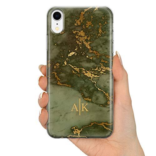 TULLUN Personalisierte Handyhülle für iPhone 7/8 - Klare Hartplastik Benutzerdefinierte Herbst Gold Marmor Buchstabe Initialen Name Text - Grüner Gold Marmor