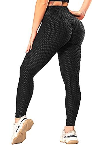 RIOJOY Damen Push Up Leggings - High Waist Anti Cellulite Leggins Scrunch Butt Po Lifting Sporthose Yogahose, Schwarz M