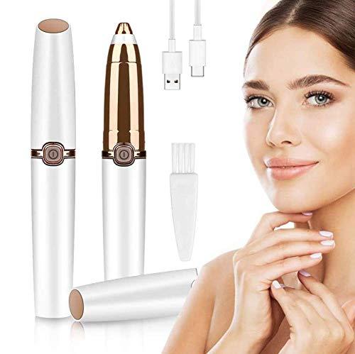 Eléctrica Depiladora Cejas Depiladora Facial Hair Remover para Mujer, Eyebrows Trimmer Afeitadora Incorporada Luz LED, Portátil sin Dolor Depiladora Cejas Recortador para Nariz Mejillas,Pearl White