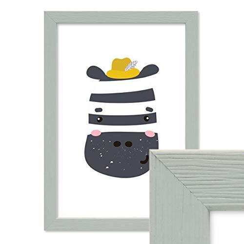 PHOTOLINI Bilderrahmen Grau 21x30 cm/DIN A4 Massivholz mit Acrylglasscheibe/Fotorahmen Hellgrau/Wechselrahmen