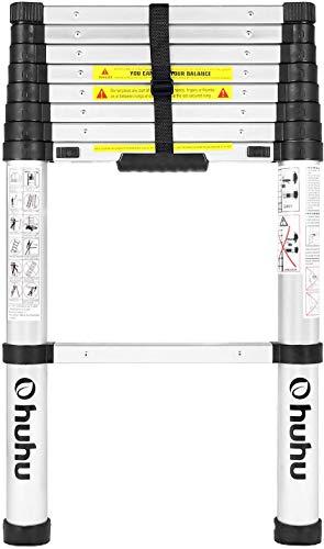 Ohuhu 2,6M Teleskopleiter, Ausziehbar Leiter Rutschfester Klappleiter Stehleiter Mehrzweckleiter aus Hochwertiges Aluminium mit Softclose-System, EIN-Knopf-Rückzug Verlängerungsleiter 150kg Kapazität