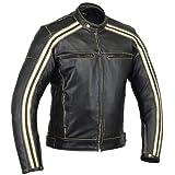 Australian Bikers Gear Retro Style 'The Bonnie' - Chaqueta de moto, Negro / Blanco, S