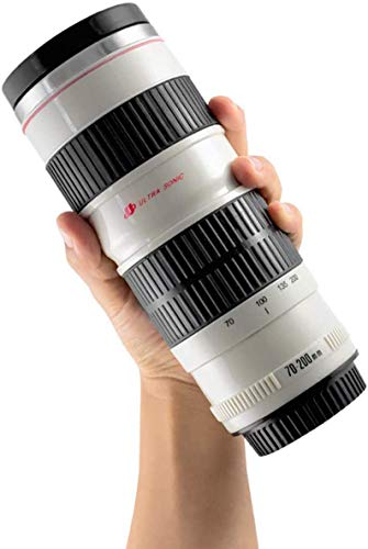Kameraobjektiv Tasse Kaffeetassen, Edelstahleinsatz EF 70-200mm, Weiß 450ml