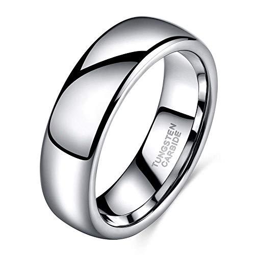 PLKN Anillos de acero de tungsteno para hombre, anillo de tungsteno negro mate acabado biselado borde pulido comodidad, anillos de boda para hombres y mujeres-P_7#